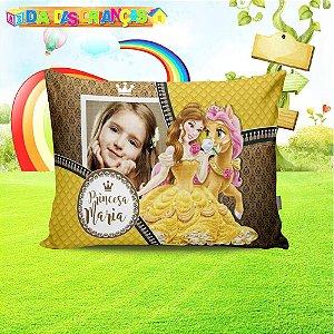 Almofada retangular Princesa Bela com foto