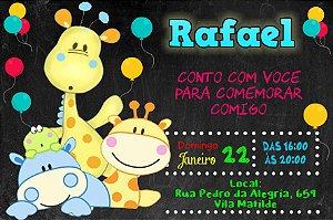 Convite digital personalizado Baby Zoo 005
