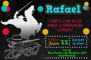 Convite digital personalizado Zorro 004