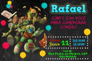 Convite digital personalizado Tartarugas Ninja 015