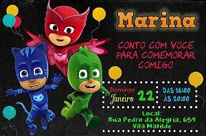 Convite digital personalizado PJ Masks - Herois de Pijama 005