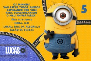 Convite digital personalizado Minions 021