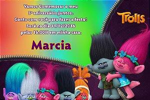 Convite digital personalizado Trolls 007