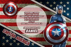 Convite digital personalizado Capitão America 007