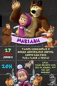 Convite digital personalizado Masha e o Urso 012