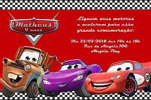 Convite digital personalizado Carros da Disney 015