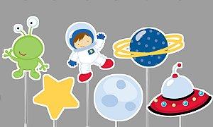 Embalagem com 20 toppers recortados para docinhos Astronauta