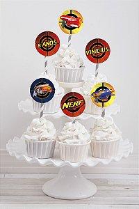 Embalagem com 20 toppers para cupcake NERF
