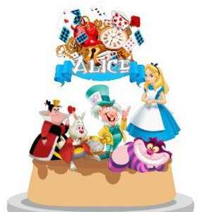 Topo de Bolo Personalizado Alice
