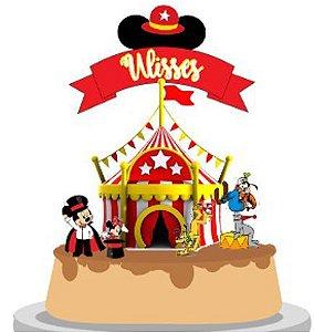 Topo de Bolo Personalizado Circo do Mickey