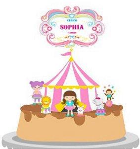 Topo de Bolo Personalizado Circo Menina