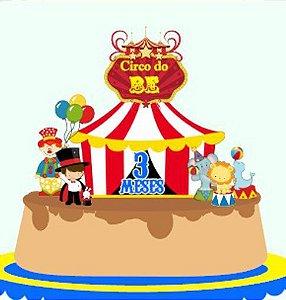Topo de Bolo Personalizado Circo Menino