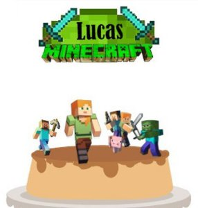 Topo de Bolo Personalizado Minecraft