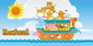 Adesivo para cofrinho personalizado Arca de Noé