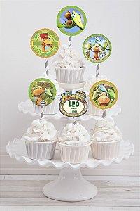 Embalagem com 20 toppers para cupcake Dinotrem