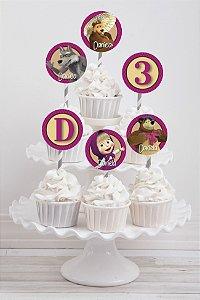 Embalagem com 20 toppers para cupcake Masha