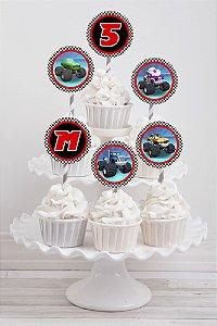 Embalagem com 20 toppers para cupcake Blaze and the Monster Machine