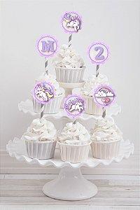Embalagem com 20 toppers para cupcake Unicornio