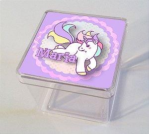 Adesivo caixinha acrílica 5x5cm Unicornio