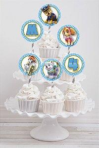 Embalagem com 20 toppers para cupcake Patrulha Canina