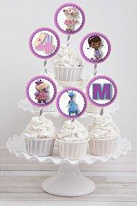 Embalagem com 20 toppers para cupcake Doutora Brinquedos