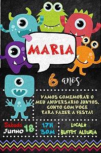 Convite digital personalizado Monstrinhos 011