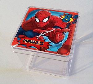Adesivo caixinha acrílica 5x5cm Homem Aranha
