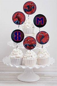 Embalagem com 20 toppers para cupcake Homem Aranha