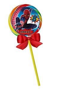 Adesivo personalizado para pirulito Homem Aranha