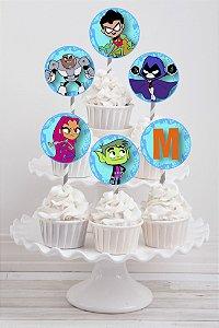 Embalagem com 20 toppers para cupcake Os Jovens Titãs
