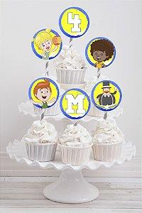 Embalagem com 20 toppers para cupcake Mundo Bita
