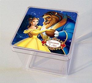Adesivo caixinha acrílica 5x5cm A Bela e a Fera
