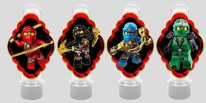 Embalagem com 8 apliques para Tubete Ninjago