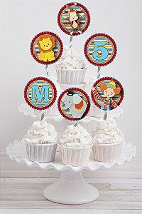 Embalagem com 20 toppers para cupcake Circo