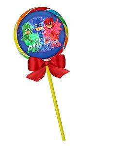 Adesivo personalizado para pirulito PJ Masks – Heróis de Pijama