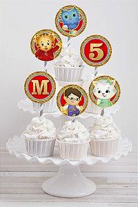 Embalagem com 20 toppers para cupcake Daniel Tigre