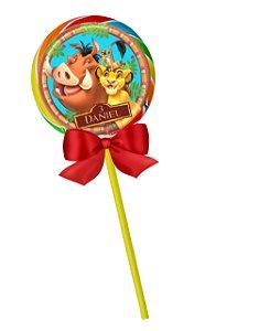 Adesivo personalizado para pirulito Rei Leão