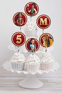 Embalagem com 20 toppers para cupcake Elena de Avalor
