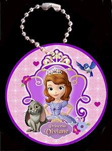 Tag com Correntinha 5 x 5 cm Princesa Sofia