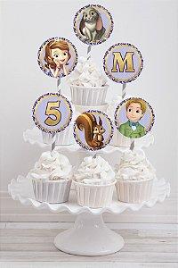 Embalagem com 20 toppers para cupcake Princesa Sofia