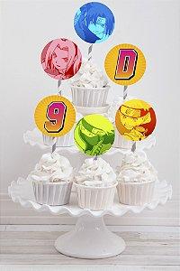 Embalagem com 20 toppers para cupcake Boruto