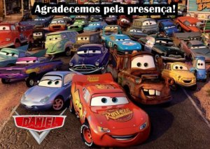 Cartão de Agradecimento Carros da Disney