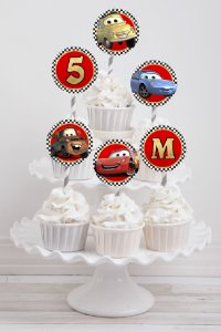 Embalagem com 20 toppers para cupcake Carros da Disney