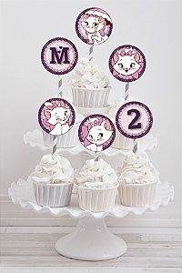 Embalagem com 20 toppers para cupcake Gatinha Marie