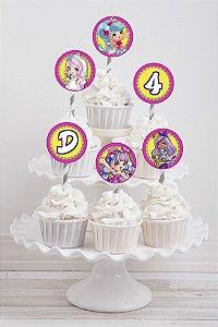 Embalagem com 20 toppers para cupcake Shopkins