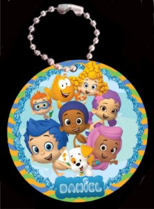 Tag com Correntinha 5 x 5 cm Bubble Guppies