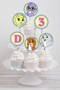 Embalagem com 20 toppers para cupcake Frankie e os Zhu Zhu Pets