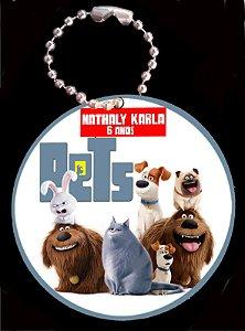 Tag com Correntinha 5 x 5 cm Pets - A Vida Secreta dos Bichos