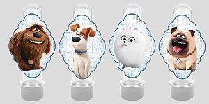 Embalagem com 8 apliques para Tubete Pets - A Vida Secreta dos Bichos