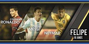 Adesivo para cofrinho personalizado Neymar,Messi e Cristiano Ronaldo